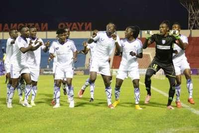 AFC Leopards players celebrate after Kepha Aswani scored against Bandari