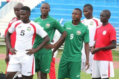 Harambee Stars' players follow keenly instructions from head coach Bobby Williamson (not in picture)
