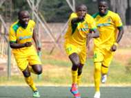 Mathare United captain Vincent Okello (l) celebrates with Noah Abich in a past match