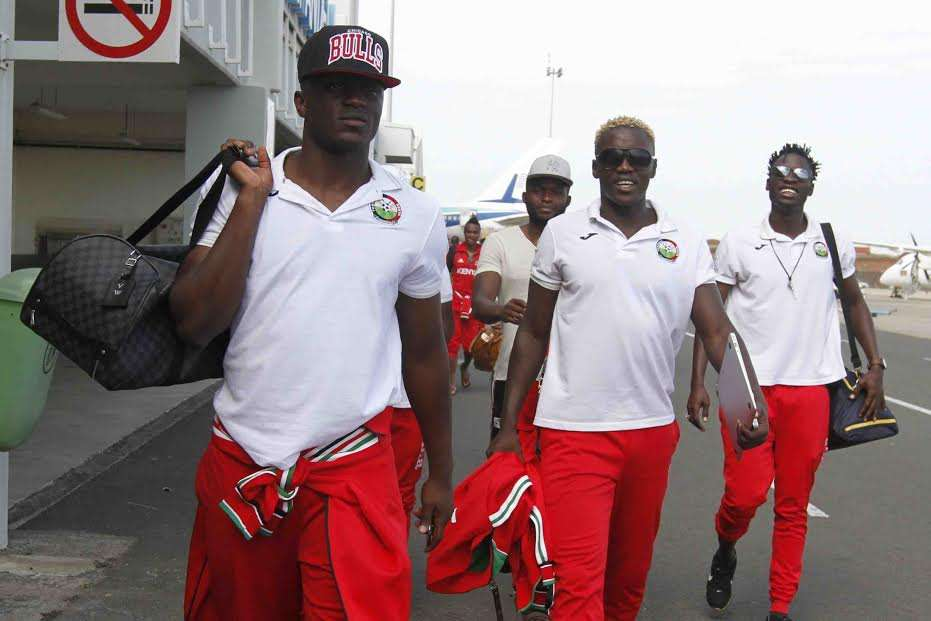 Captain Victor Wanyama leads Harambee Stars as they landed safely in Cape Verde for tonight's fixture