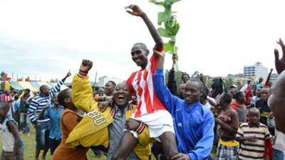 Shabana FC players celebrates their return to top flight football on Sunday.