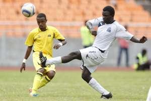 Mohamed Bouh Guedi of Telecom FC (L) vies against Enock Agwanda of Gor Mahia FC