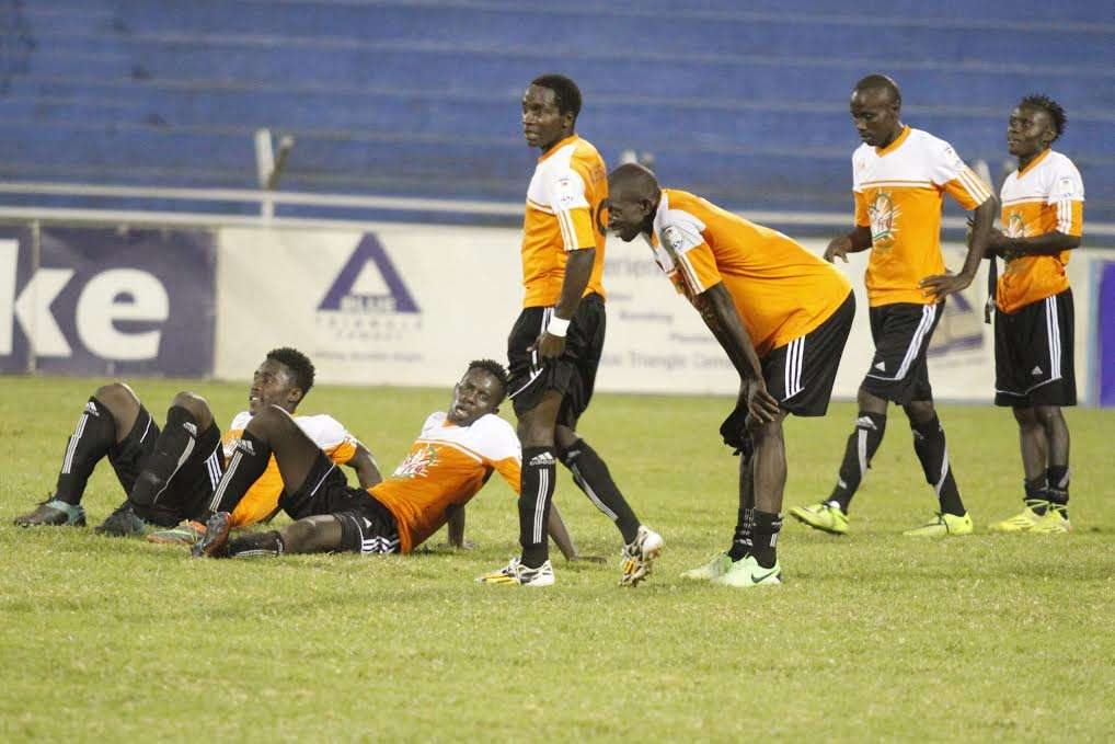 Nakuru All Stars players react after the final whistle of their league match against Sofapaka