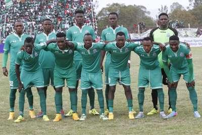 Gor Mahia FC players line-up before taking on Ulinzi Stars at Afraha Stadium in Nakuru on Sunday