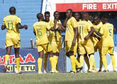 Mathare United players celebrate