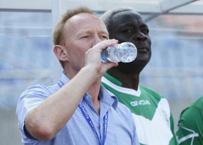 Coach Frank Nuttall quenching thirsty during Cecafa Kagame Cup tournament in Tanzania last year