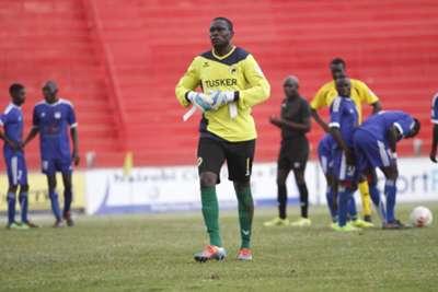 Tusker goalkeeper Duncan Ochieng was red carded against Nairobi City Stars
