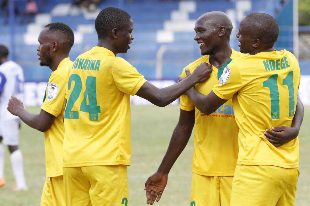 Mathare United players celebrate after beating Sofapaka