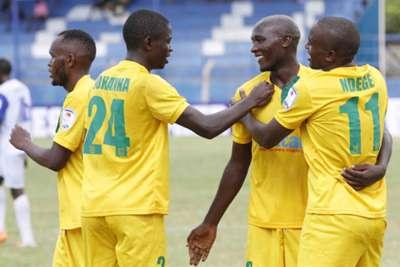 Mathare United players celebrate after beating Sofapaka