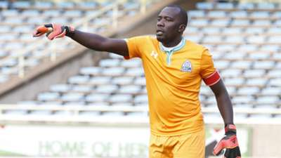 Gor Mahia goalie Jerim Onyango react against Palos FC