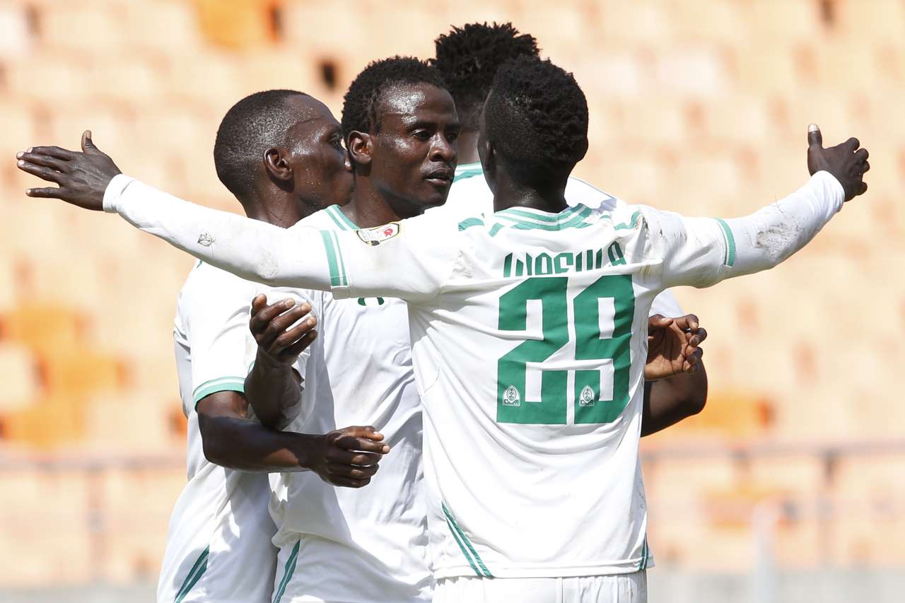 Gor Mahia players celebrate after Eric Ochieng' headed in equalizing goal against Al Khartoum on Friday