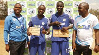 Sofapaka coach Sam Ssimbwa and Umaru Kasumba