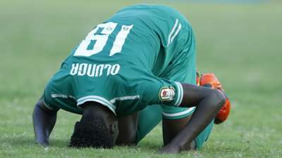 Gor Mahia striker Michael Olunga celebrates after scoring the third goal against KMKM on Monday
