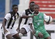 Gor Mahia midfielder Francis Kahata v Robert Omunuk and Eugine Asike of Tusker