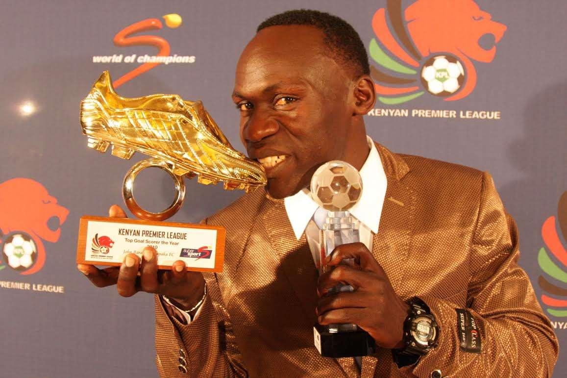 Sofapaka striker John Baraza celebrates winning Golden Boot in previous season