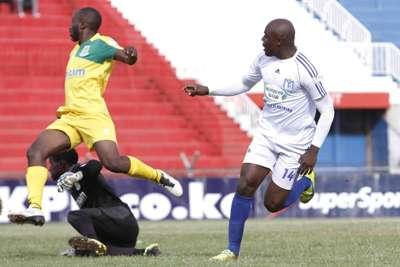 Muhoroni Youth striker Wycilife Ochomo scores against Mathare United