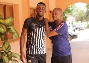FKF President Nick Mwendwa welcomes goalkeeper Arnold Origi at Azalai Hotel