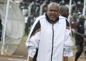 KCB coach Rishadi Shedu looks dejected at the final whistle as they lost 5-2 to Nakuru All Stars