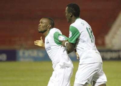 Gor Mahia striker Jacques Tuyisenge celebrates scoring against Thika United