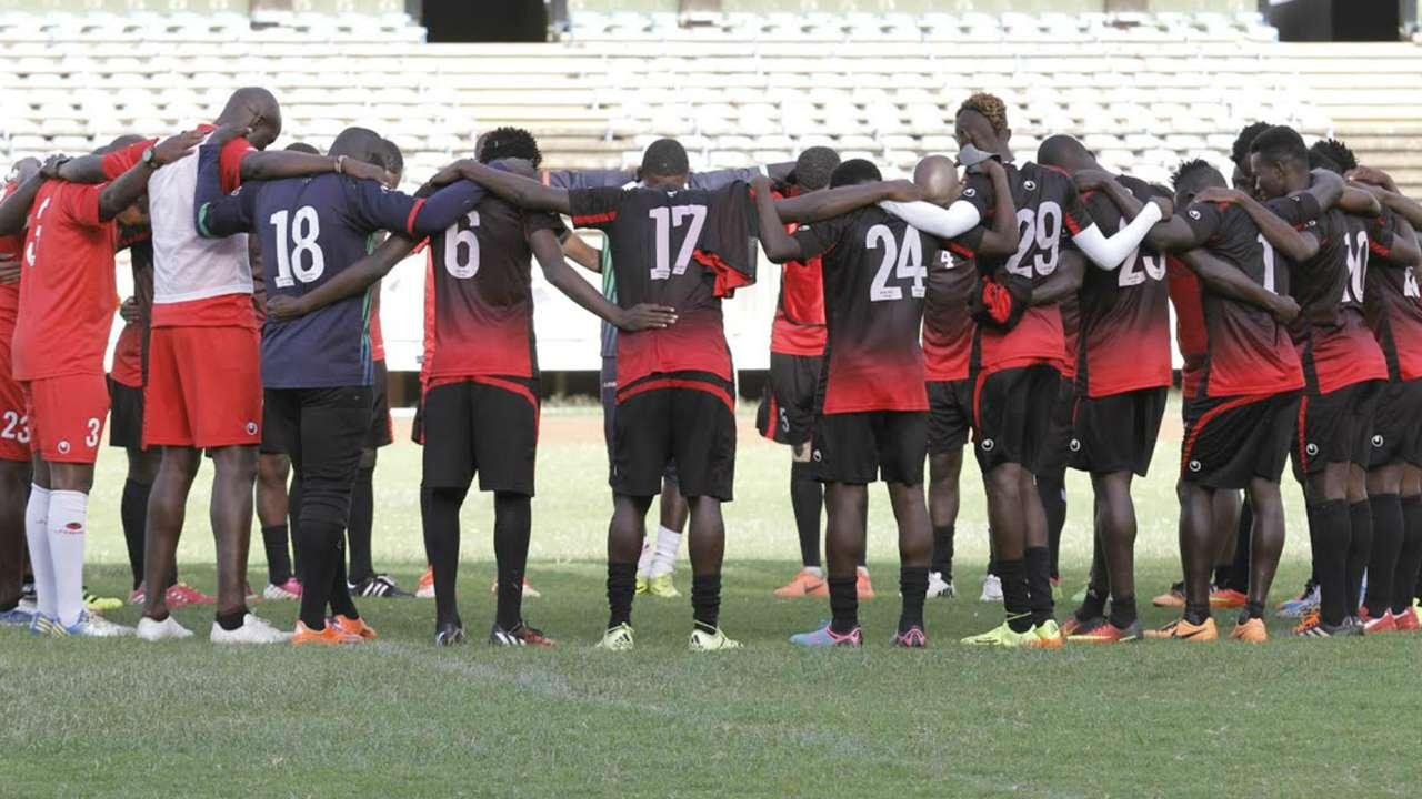 Harambee Stars players before training at Kasarani on Thursday