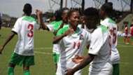 Harambee Starlets celebrate Esse Akida's goal against Burundi in Jinja Uganda