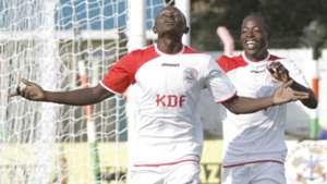 Ulinzi Stars winger Samuel Onyango celebrates with Ezekiel Otuoma