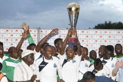 Gor Mahia players celebrate after clinching KPL Top 8 crown
