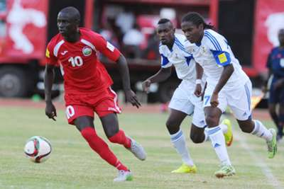 Mathare United and Harambee Stars midfielder Erick Johanna against Mauritius