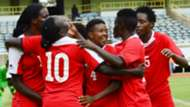 Harambee Starlets players celebrate against Egypt