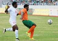 Kenya defender David Owino v Zambia opponent