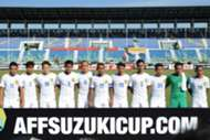 Malaysia players posing for team photo before the start of the match against Cambodia in the 2016 AFF Suzuki Cup 20/11/16