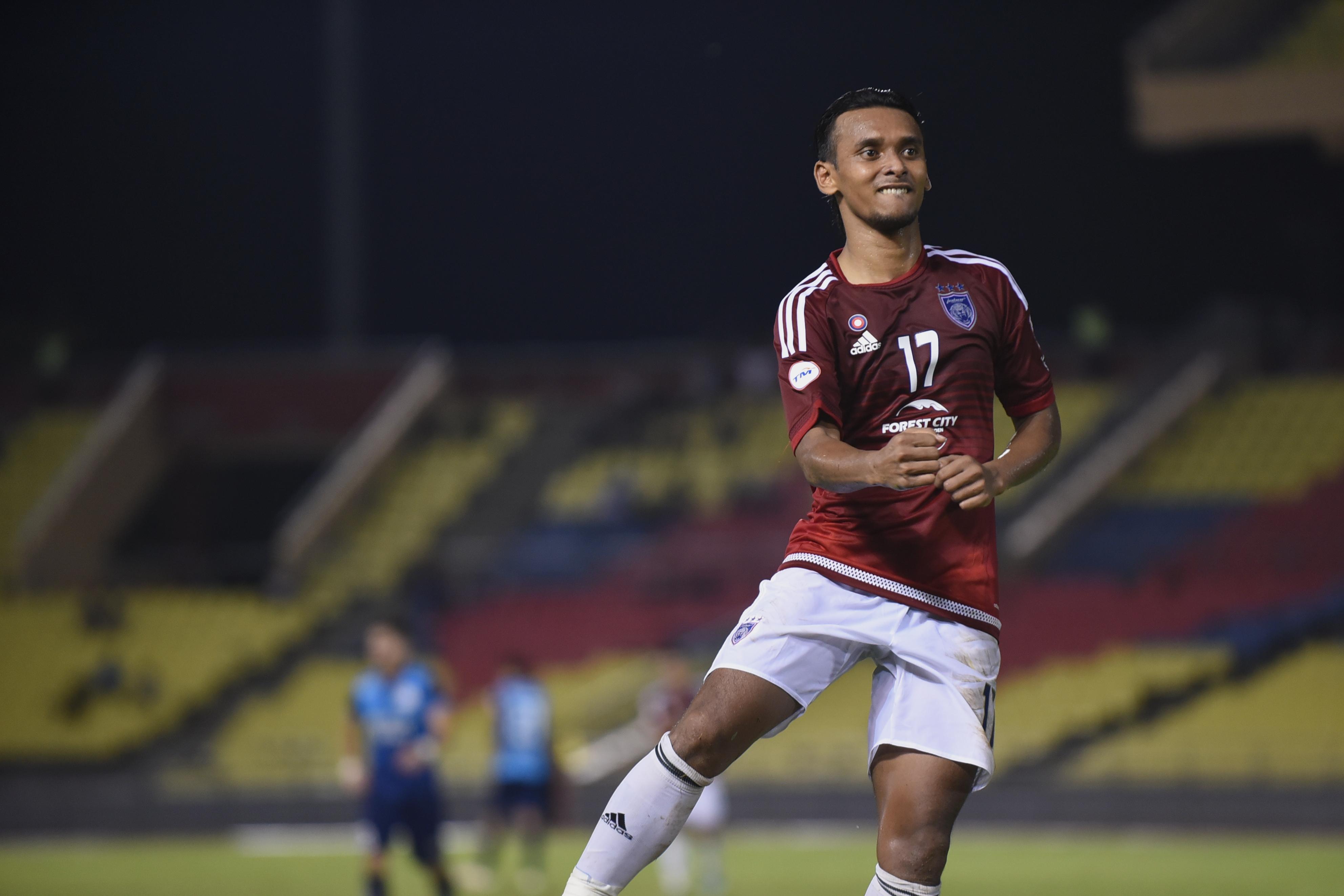Johor Darul Ta'zim's Amri Yahyah celebrating his goal against PDRM 19/7/2016