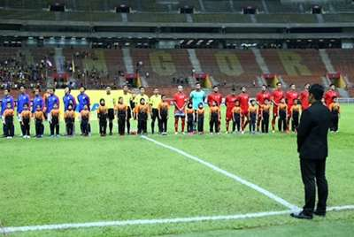 Malaysia and Afghanistan players line up before their friendly match 11/10/2016