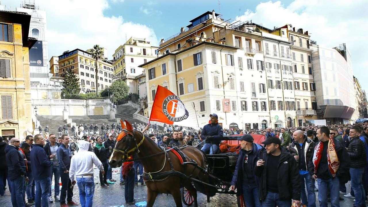 Feyenoord fans in Rome, Europa League