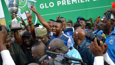 Enyimba celebrate winning the Nigeria Professional Footall League title