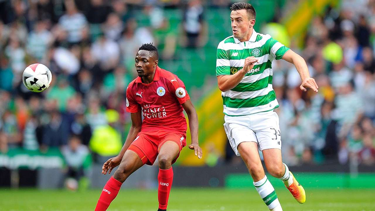 Ahmed Musa of Leicester and Eoghan O'Connell of Celtic