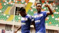Hassan Babangida celebrate goal with team mate Olisema Cyril - Akwa United