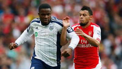 Victor Anichebe of West Bromwich Albion and Francis Coquelin of Arsenal