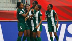Nigeria women celebrate Francisca Ordega's late equaliser