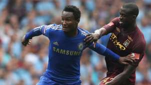 John Obi Mikel of Chelsea and Yaya Toure of Manchester City