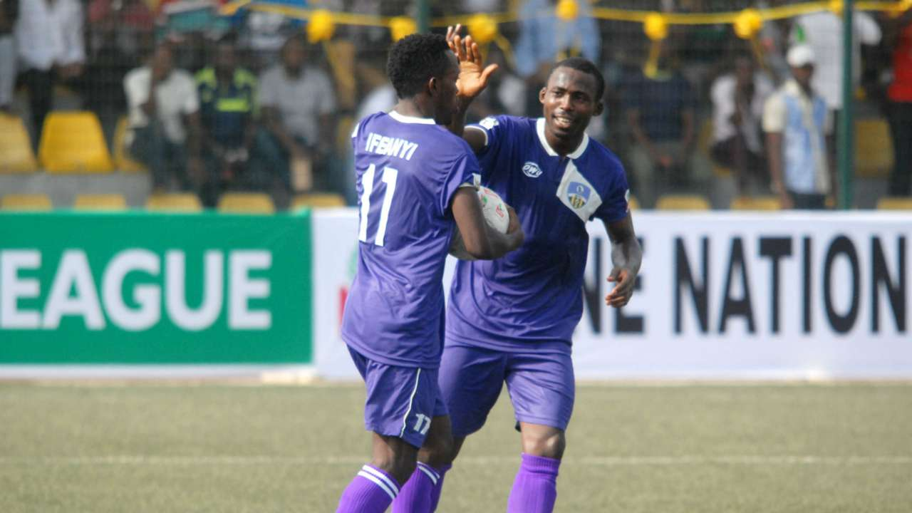 MFM's Ifeanyi Ifeanyi celebrates goal against Rivers United