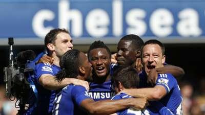 John Obi Mikel, John Terry, Didier Drogba, Branislav Ivanovic and Kurt Zouma of Chelsea