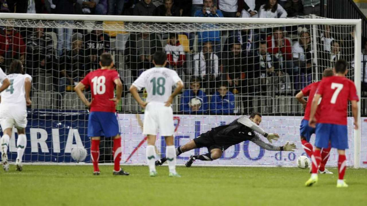Samir Handanovic Nemanja Vidic Slovenia Serbia Euro 2012 qualifiers Maribor Ljudski vrt 11102011