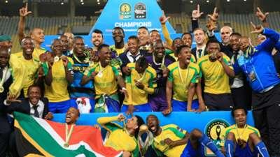 Mamelodi Sundowns celebrate winning Caf Champions League