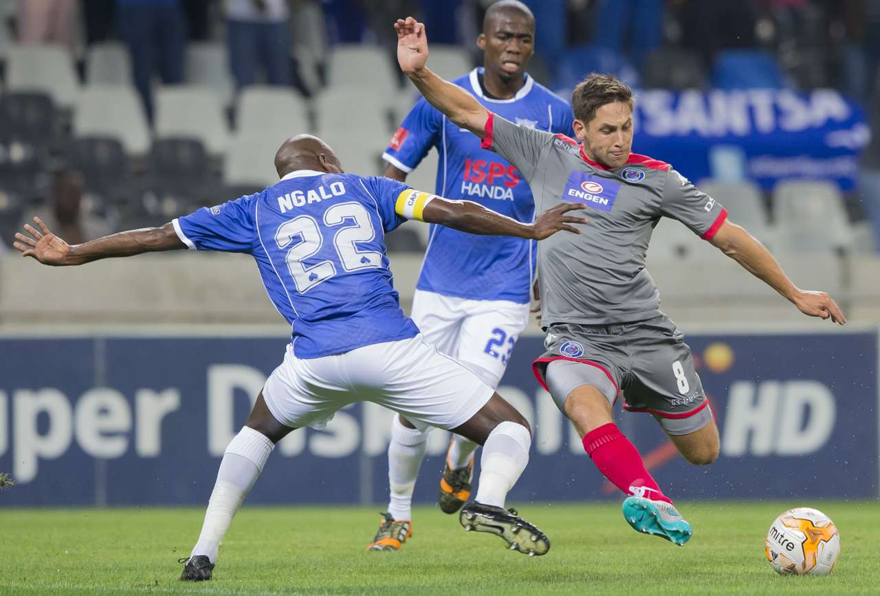 SuperSport United midfielde Dean Furman and Black Aces Ngalo