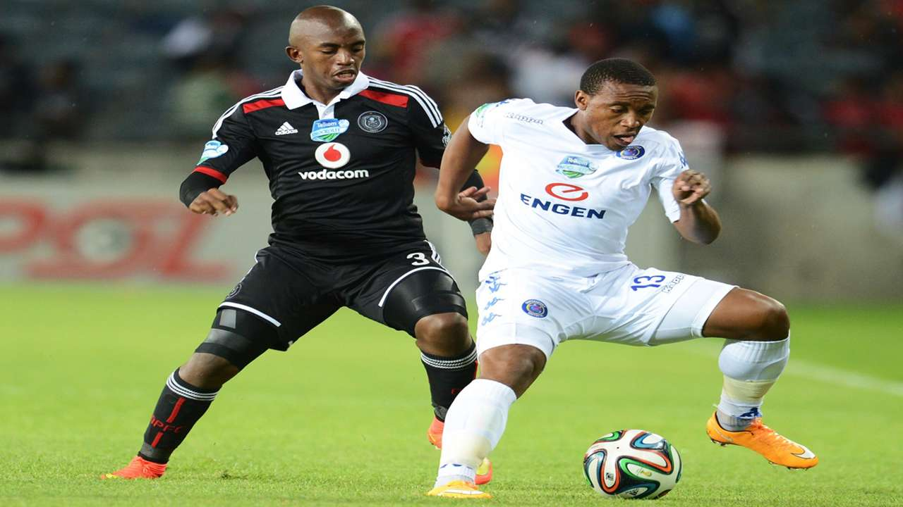 Patrick Phungwayo Pirates & Thuso Phala of SuperSport United Nov 2014