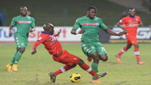 Bongi Ntuli of Amazulu tackled by Tebogo Monyai of Tuks may 2015