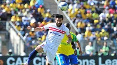 Basem Abdalla of Zamalek challenged by Hlopho Kekana of Mamelodi Sundowns