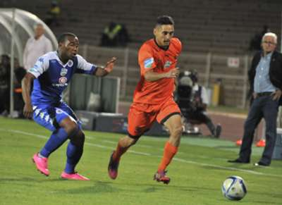 Cole Alexander of Polokwane City with Thuso Phala of SuperSport United