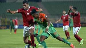 Ramy Rabia of Al-Ahly and Zesco United's Idris Ilunga Mbombo